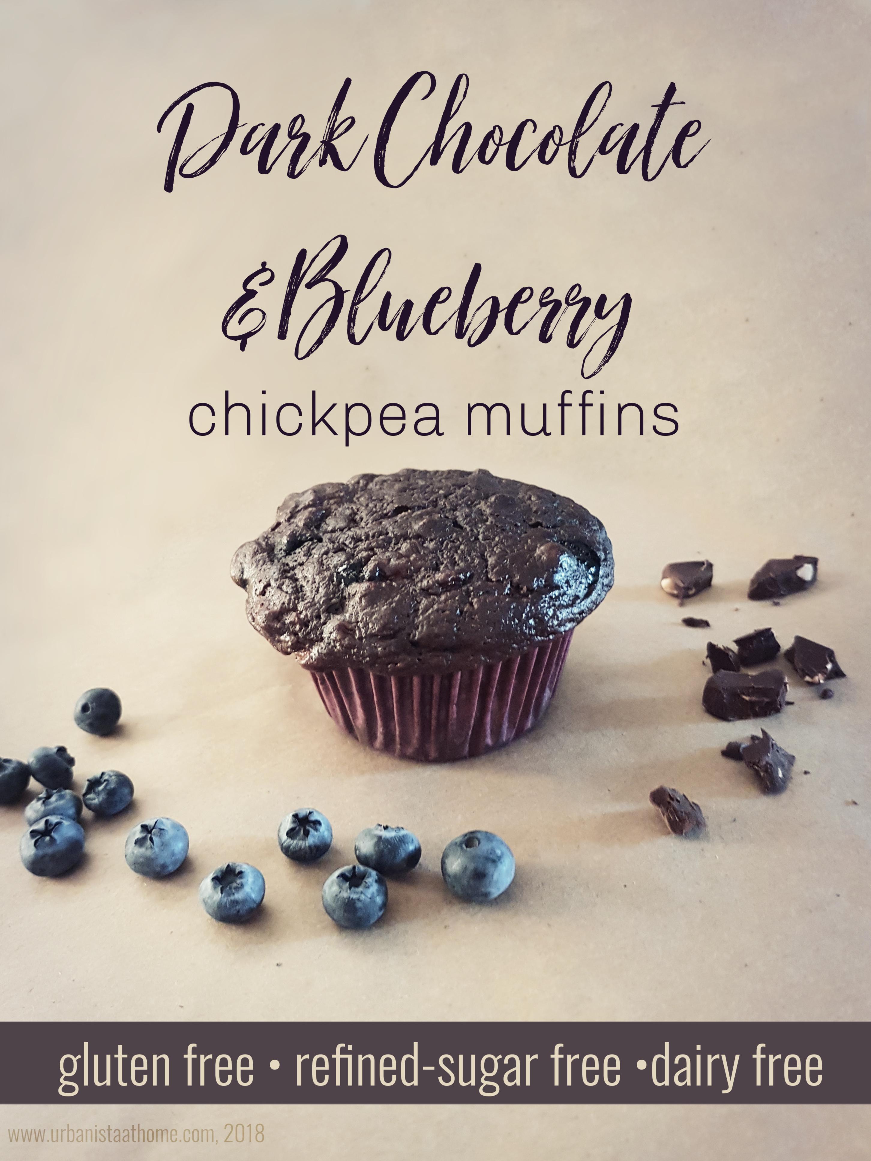 Dark Chocolate Blueberry Chickpea Gluten Free Sugar Free Muffins - Urbanistaathome.com 2018